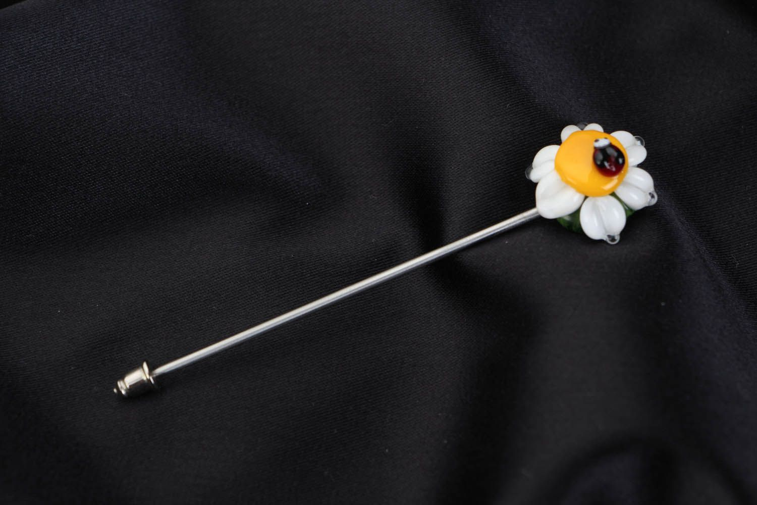 Lampwork brooch Camomile with Ladybird photo 1