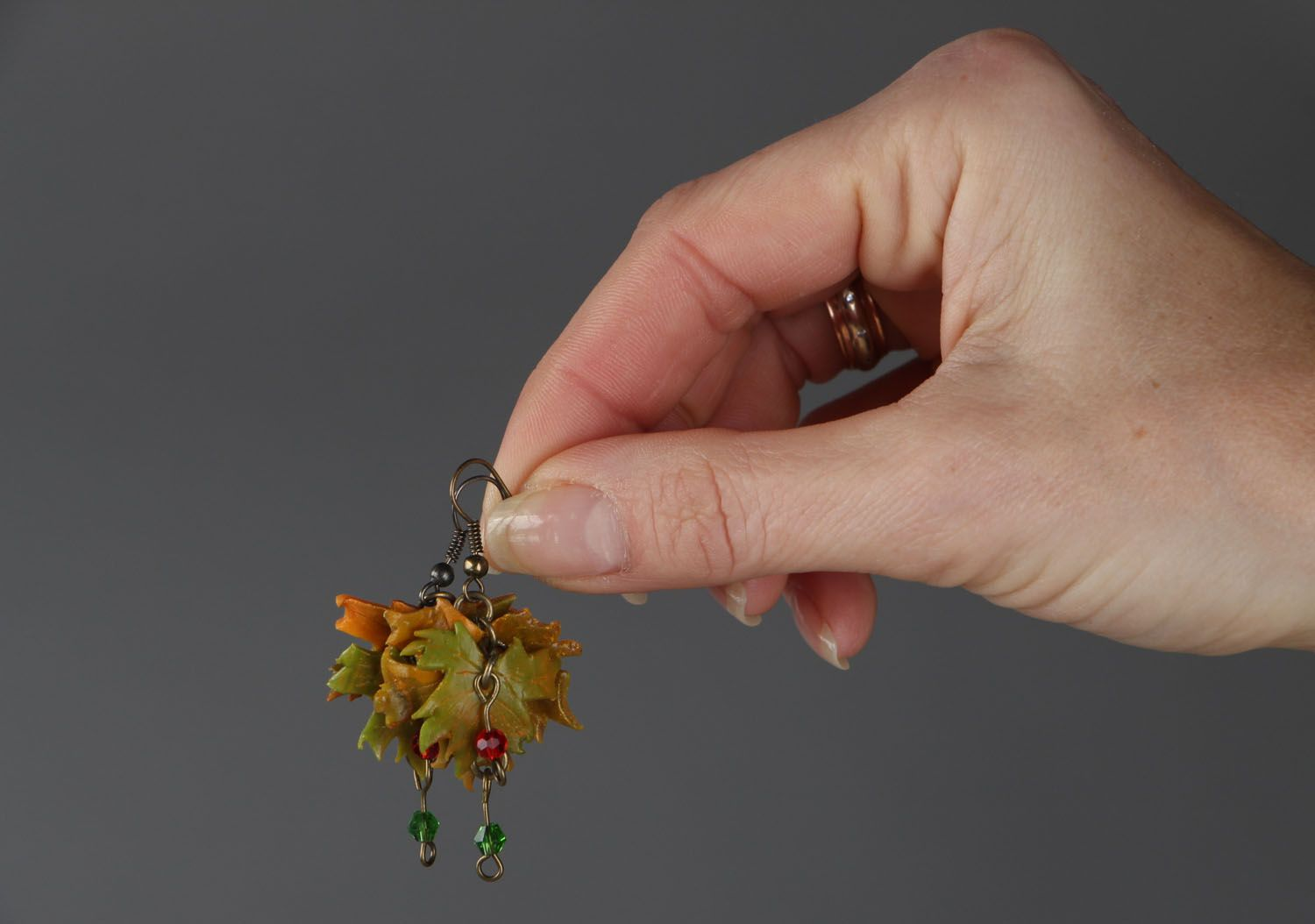 Dangle earrings made of polymer clay Autumn photo 4