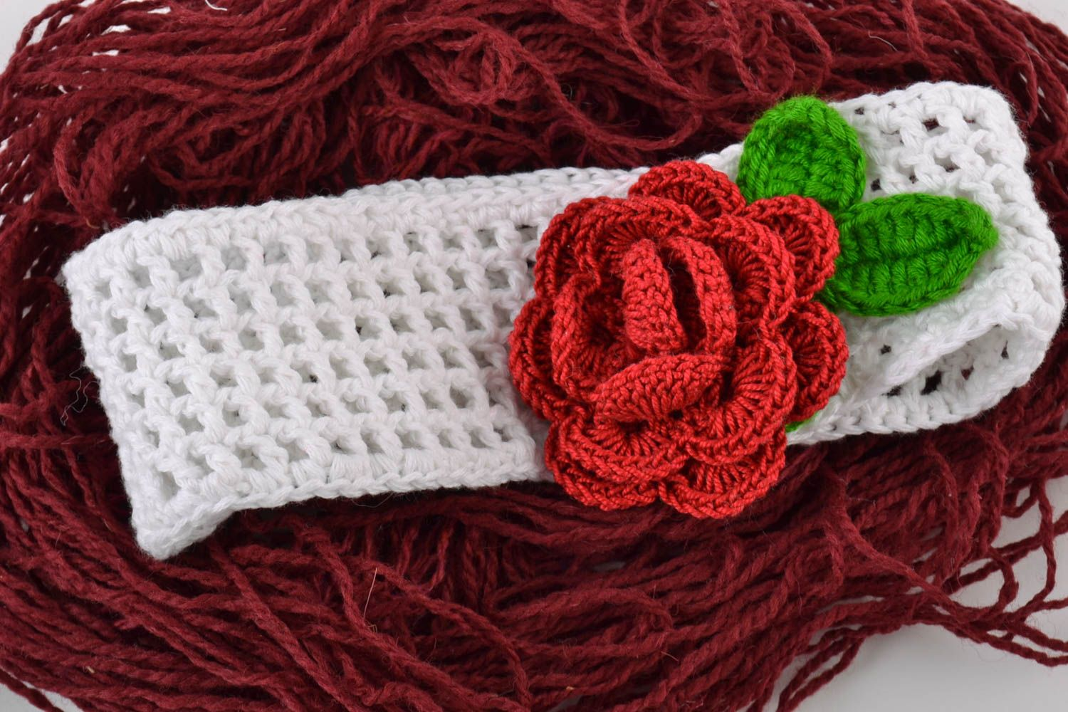 Handmade wide lacy crochet white headband with volume red flower for baby girl photo 1