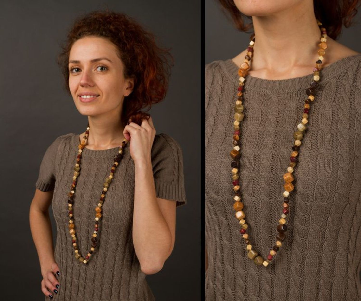 Wooden ethnic beaded necklace photo 2