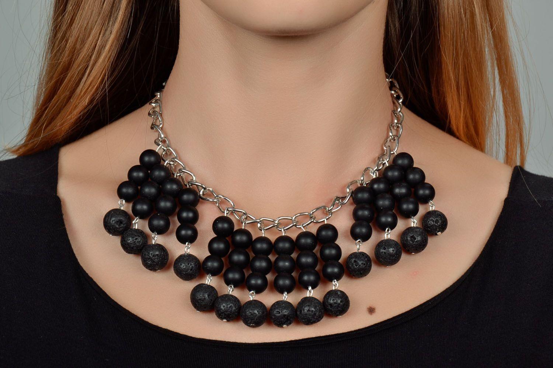 Black handmade necklace  photo 1
