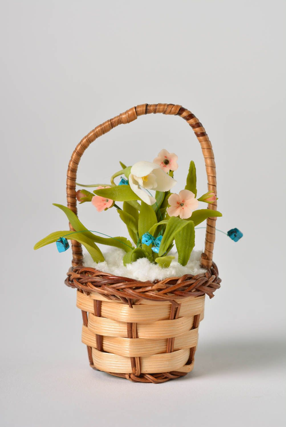 Handmade polymer clay designer floral brooch in tiny decorative basket  photo 1