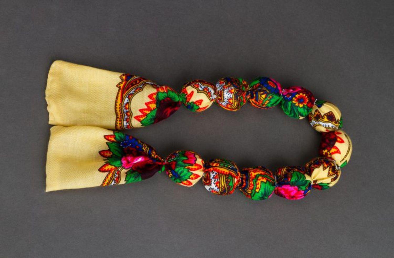 Bead necklace made of Ukrainian scarf photo 3