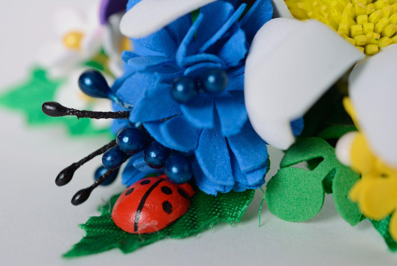 Set of handmade women's foamiran flower scrunchies in the shape of flower bouquets 2 items photo 4