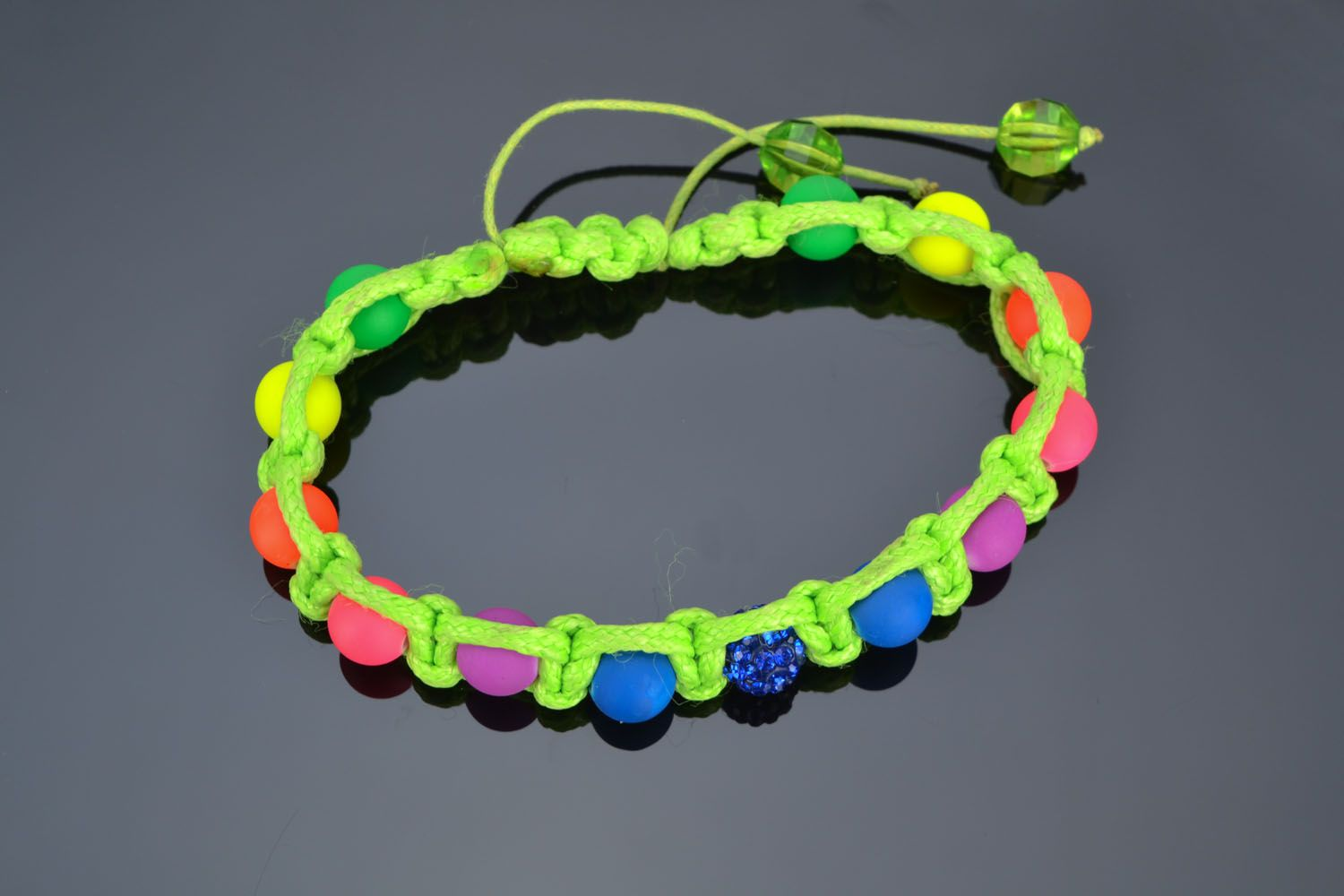 Bracelet woven of colorful beads photo 2