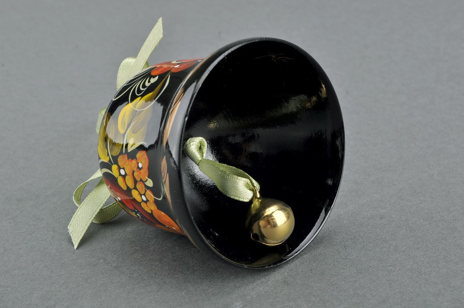 Decorative bell made from wood Poppy blossom photo 3