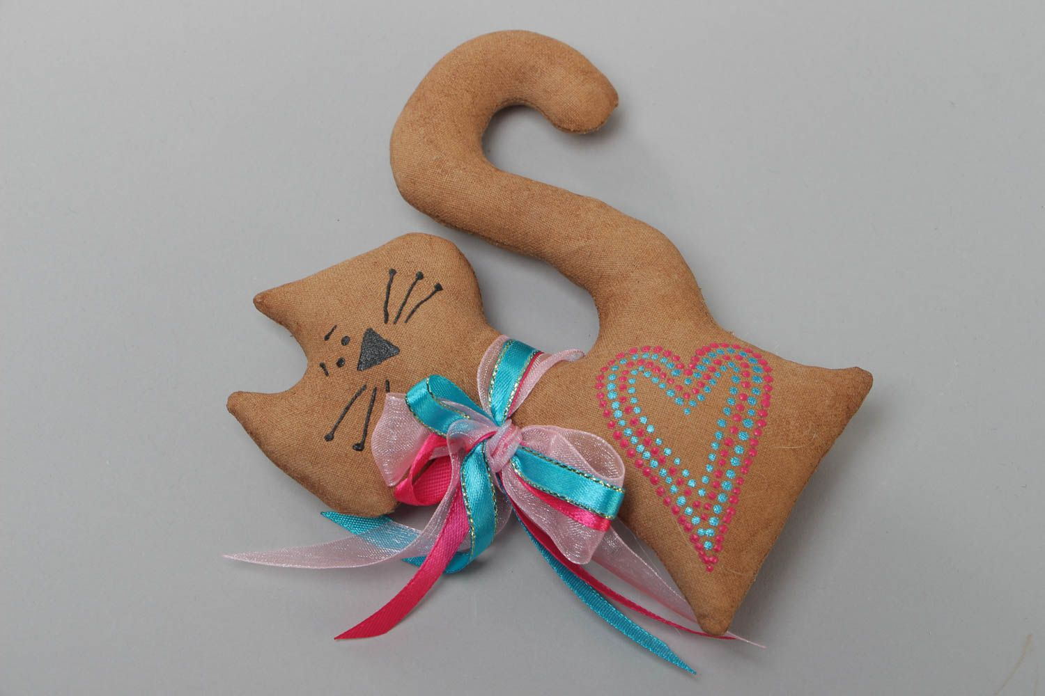 Handmade scented textile soft fridge magnet in the shape of cat photo 3