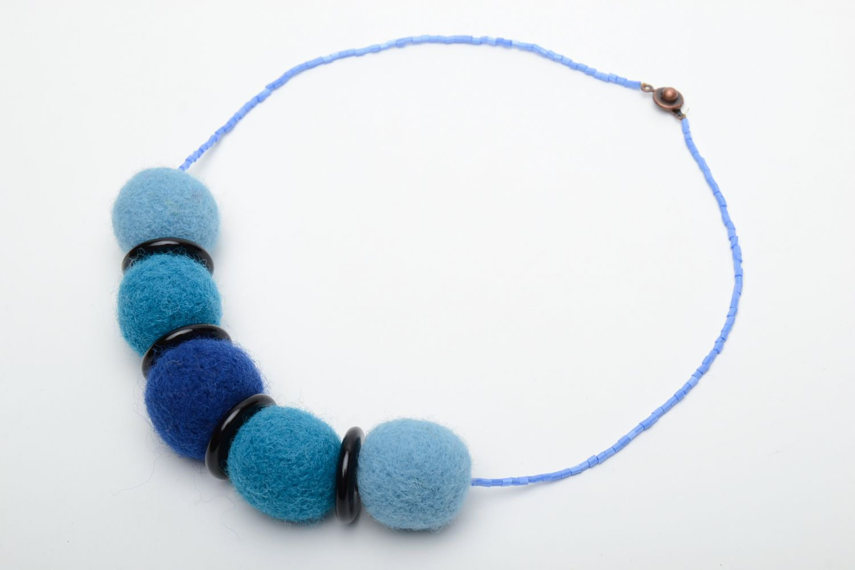 Wool felt necklace in blue color palette  photo 2