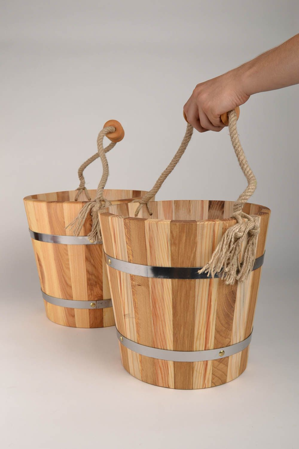 Handmade wooden bucket for sauna bath accessories sauna bucket present for men photo 5