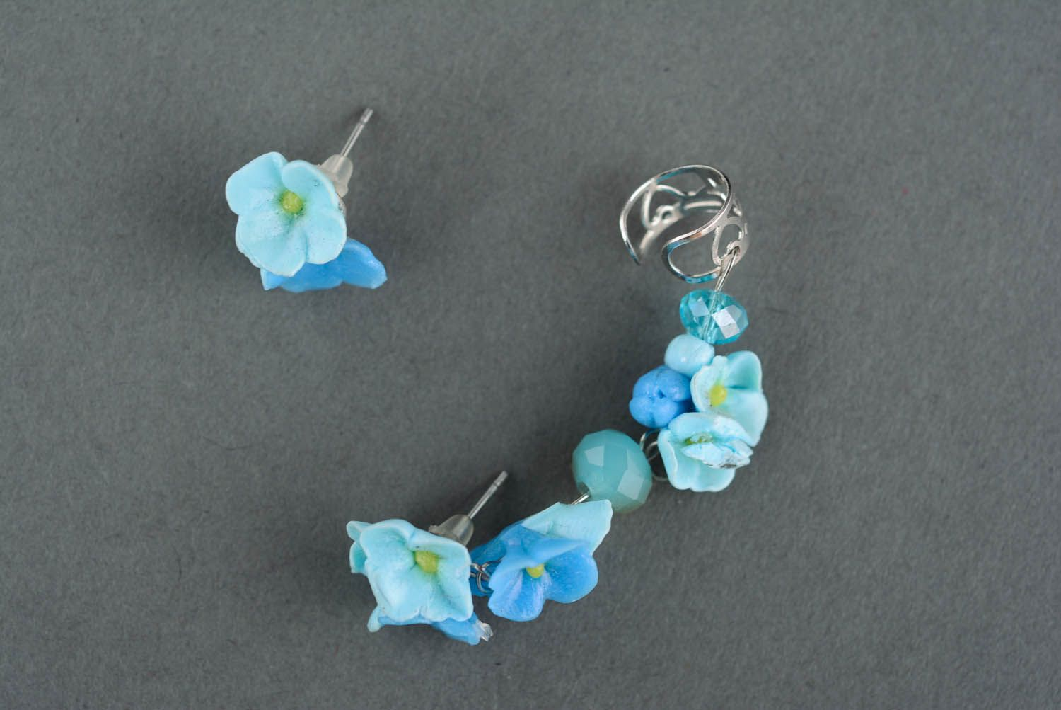 Polymer clay ear cuffs Forget-me-not flowers photo 2