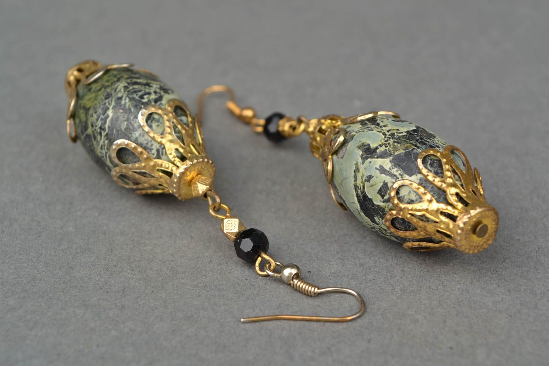 Handmade earrings with beads of unusual shape photo 4