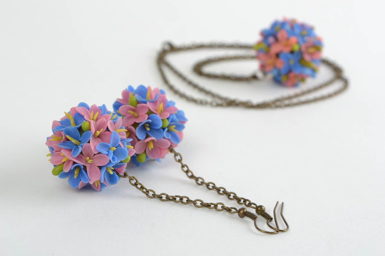 Beautiful design handmade cold porcelain jewelry set flower earrings and pendant photo 3