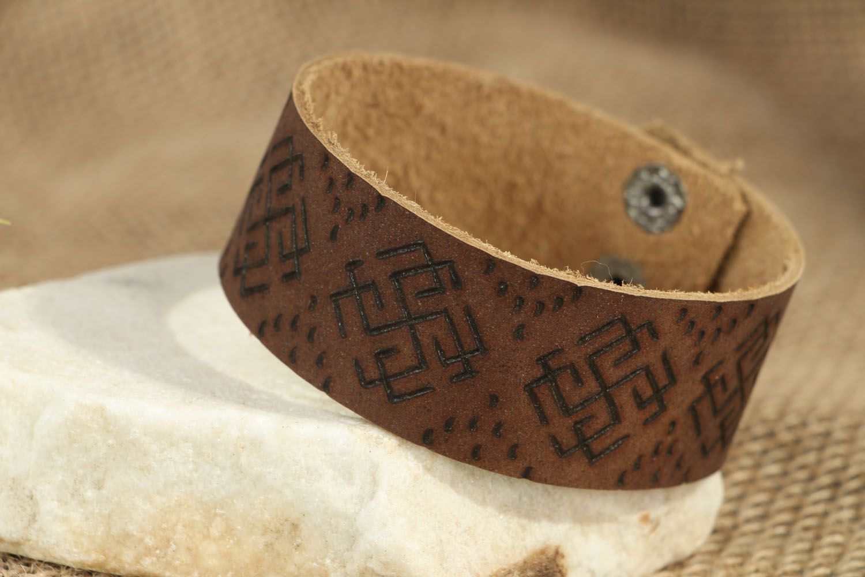 Кожаный браслет Сварожич фото 5