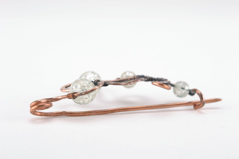 Wire wrap copper brooch photo 2