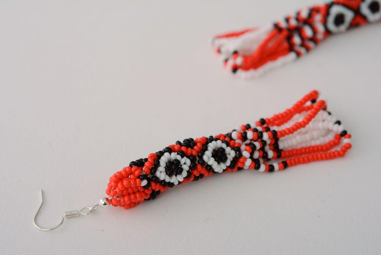 Длинные бисерные серьги в этно-стиле фото 4