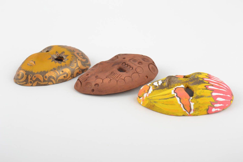 Set of 3 homemade designer ceramic fridge magnets carnival masks photo 2