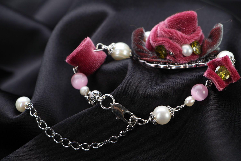Armband aus Natursteinen Rose foto 3