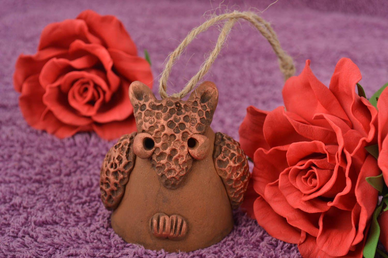 Beautiful brown handmade designer painted ceramic bell Owl photo 1