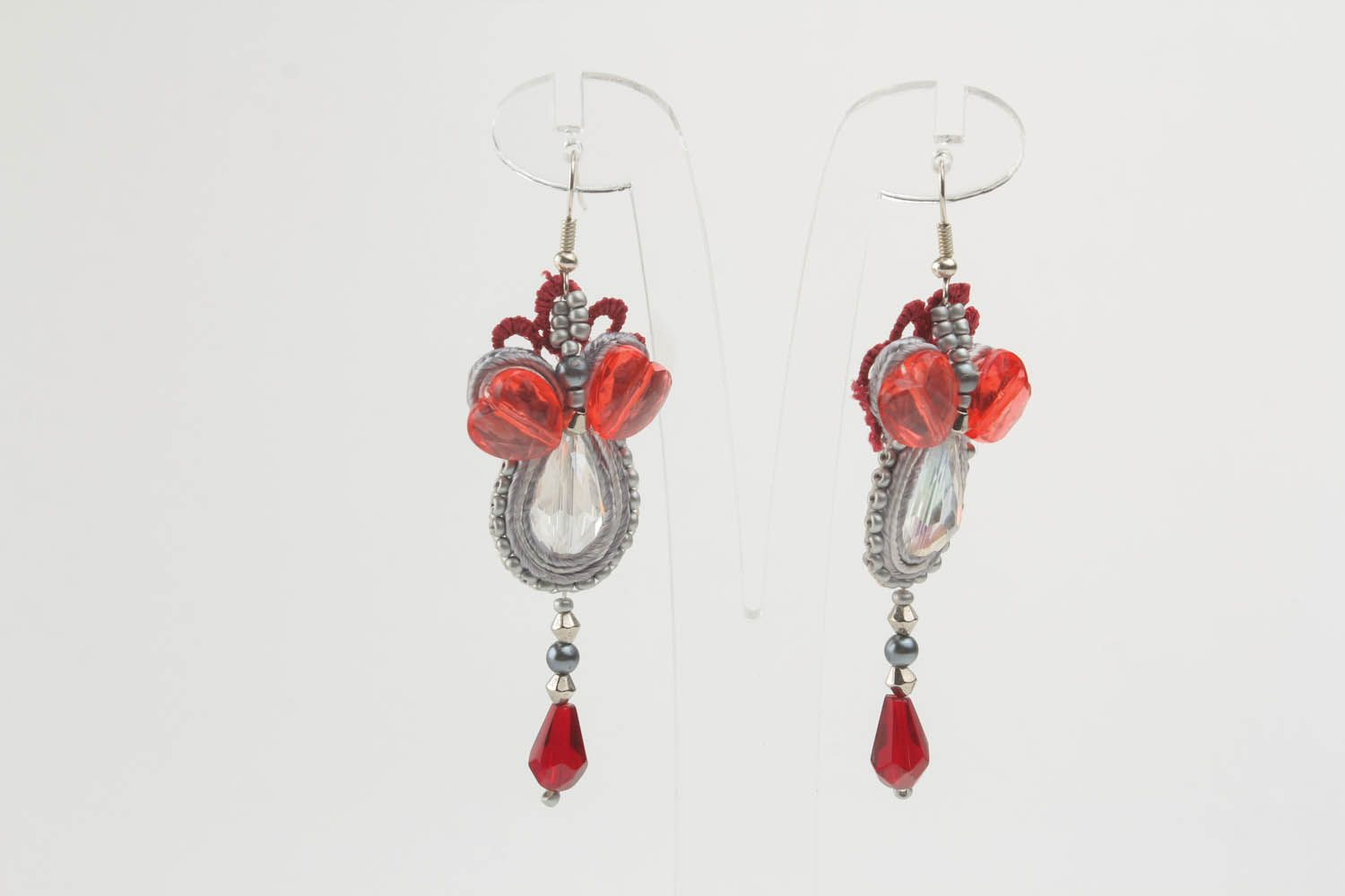 Long soutache earrings photo 2