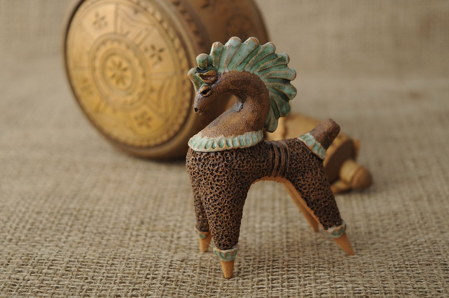 Clay penny whistle in the form of horse photo 2