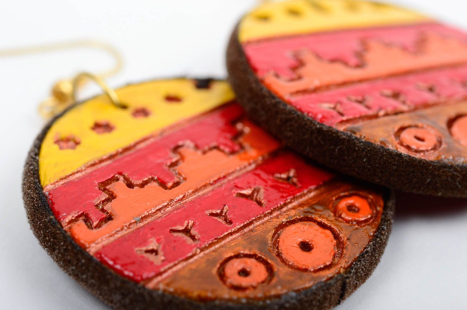 Unusual handmade clay earrings ceramic earrings fashion accessories for girls photo 4