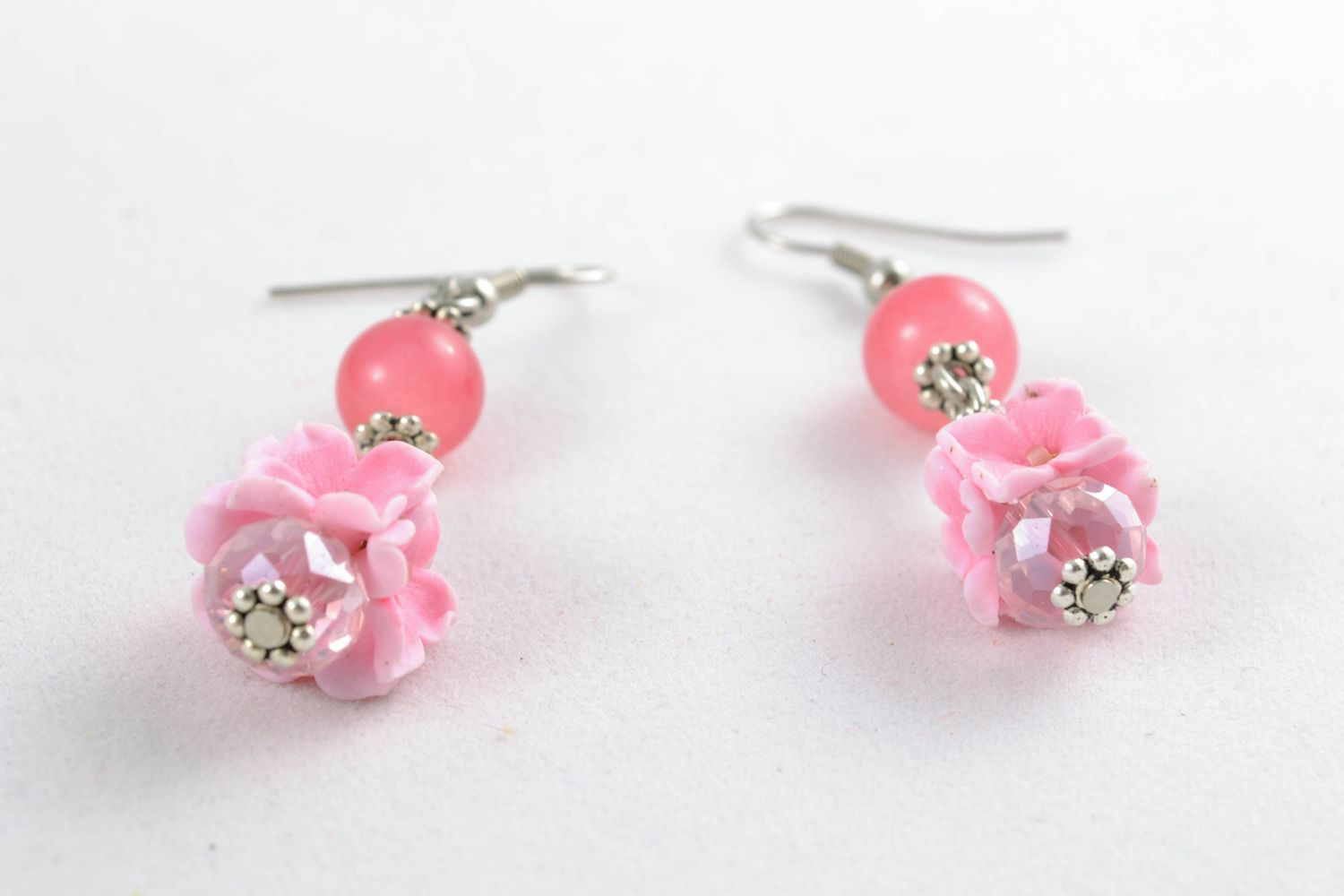 Pink polymer clay earrings photo 4