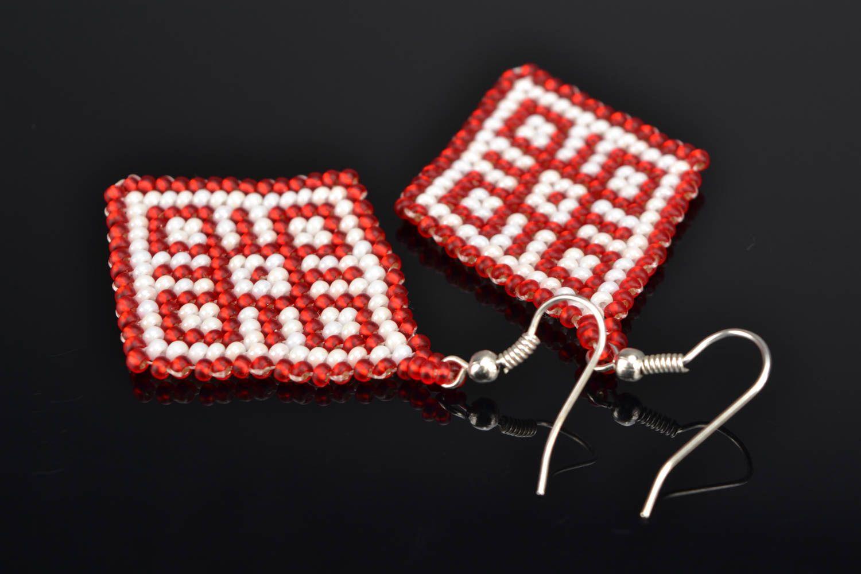 Beaded pendant earrings photo 1