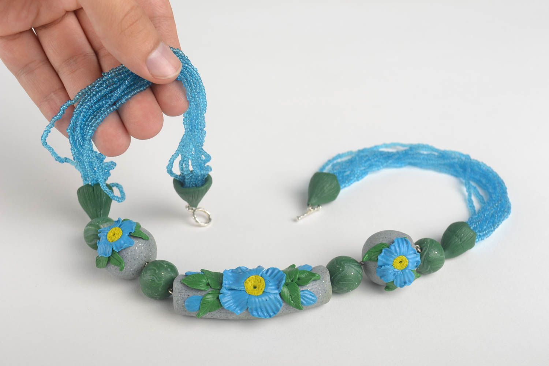Stylish handmade bijouterie designer polymer clay necklace unique present photo 5
