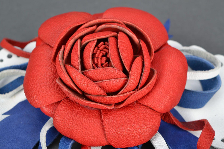 Blume Haarspange aus Leder foto 4