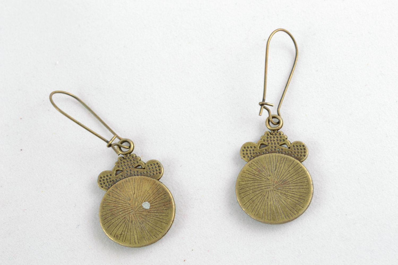 Round decoupage epoxy earrings photo 4