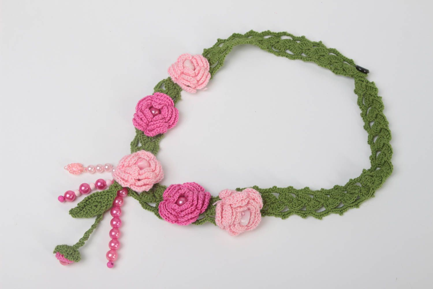 Handmade textile necklace crocheted flower necklace stylish accessory gift photo 2