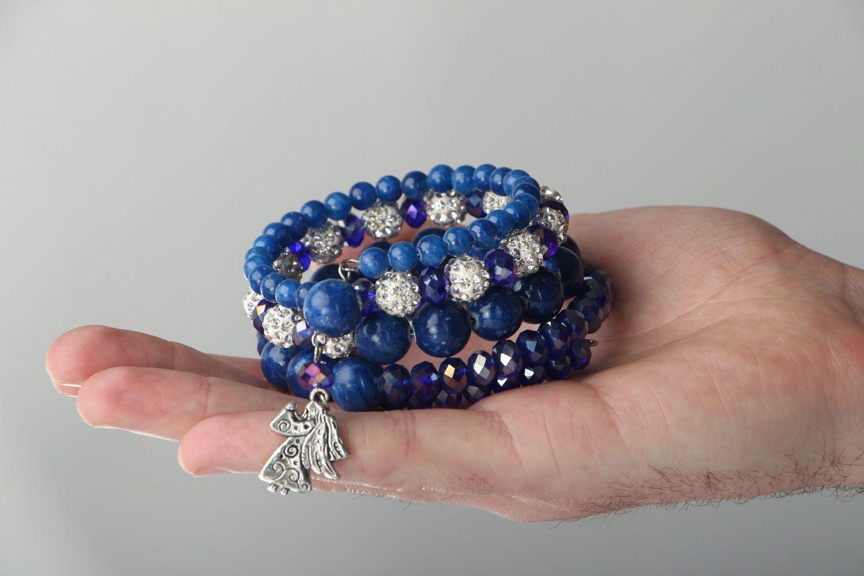 Mehrreihiges Armband mit Natursteinen foto 4
