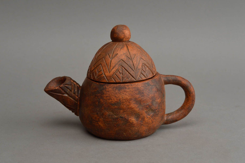 tea pots and coffee pots Unusual handmade ceramic teapot patterned clay teapot 150 ml table decor  - MADEheart.com