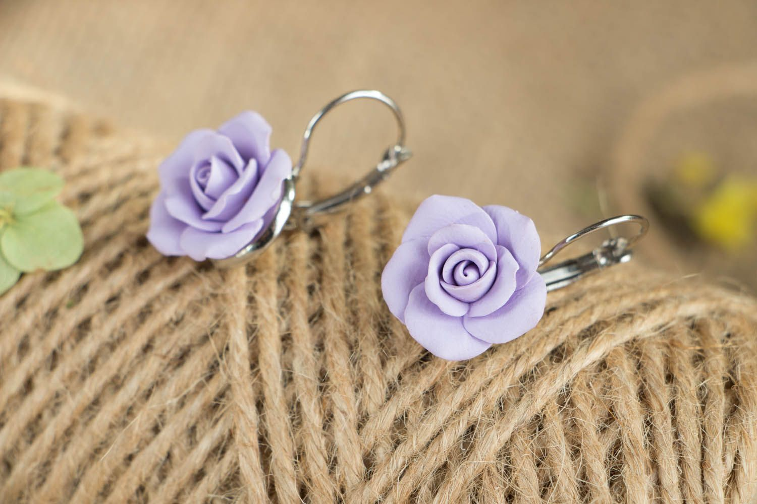 Polymer clay earrings Violet Roses photo 3