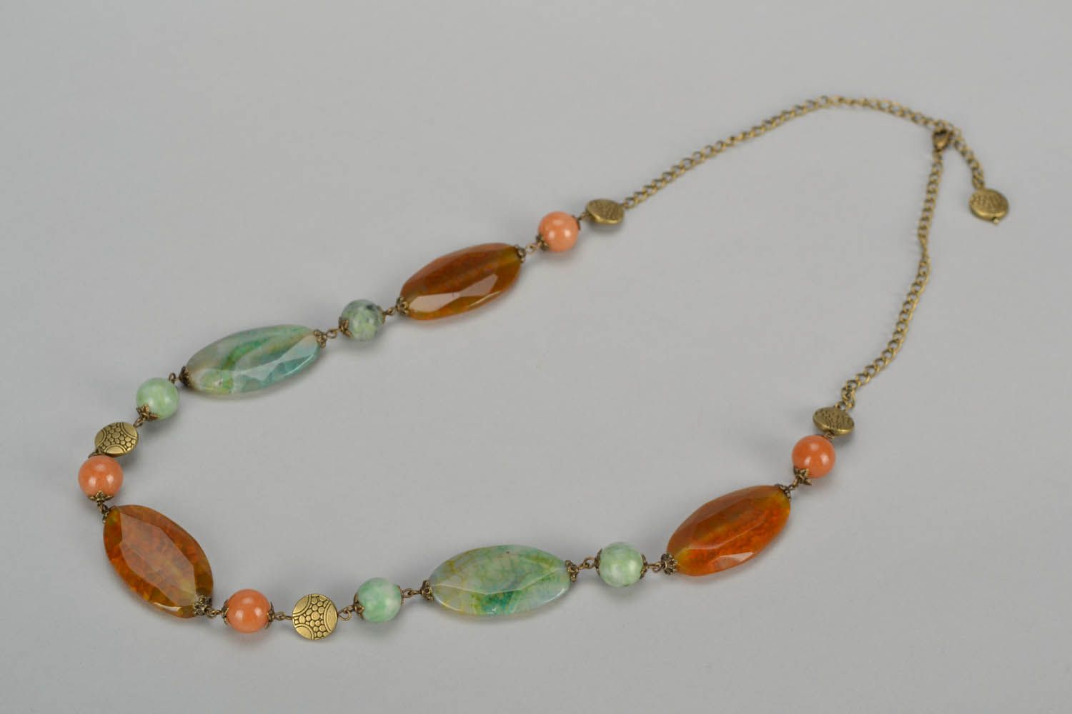 Beaded necklace made of natural stones Autumn photo 3