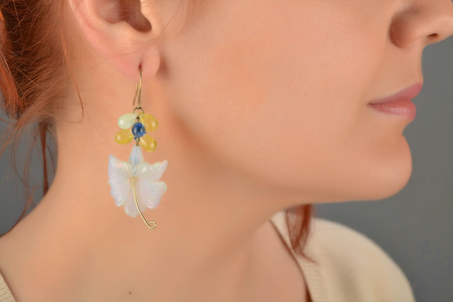 Handmade designer dangling earrings with tender Czech glass flowers photo 1