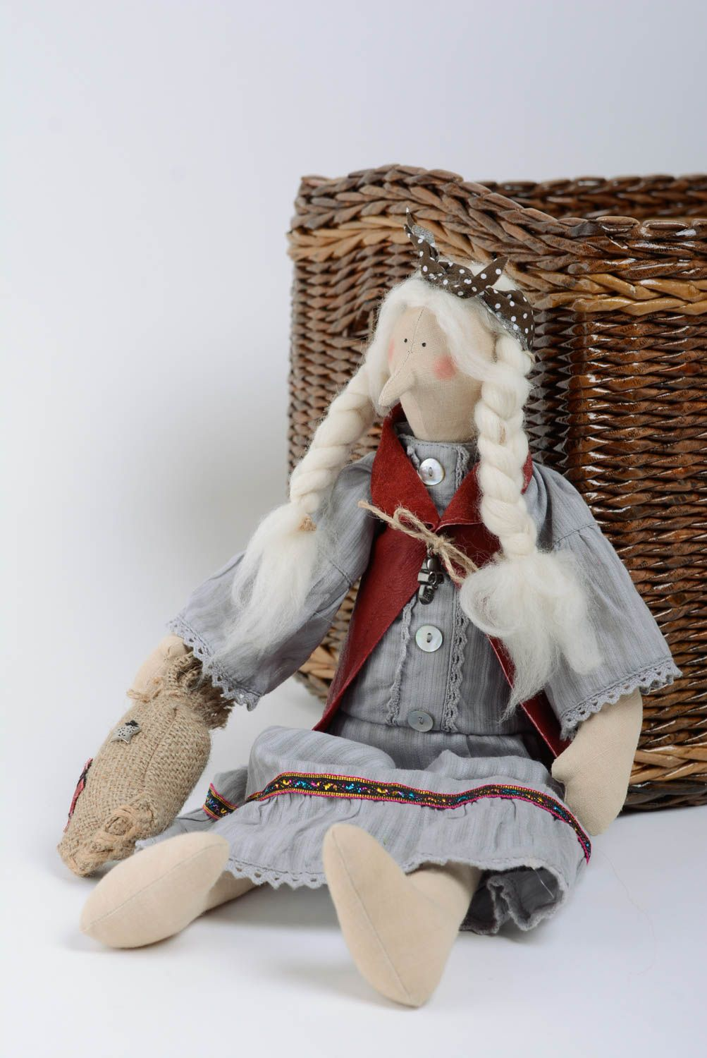 Designer doll for home interior made of cotton and wool handmade gift for baby photo 4