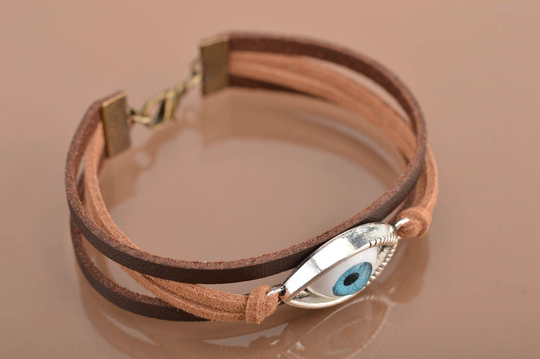 Handmade leather bracelet against the evil eye unisex designer accessory photo 5