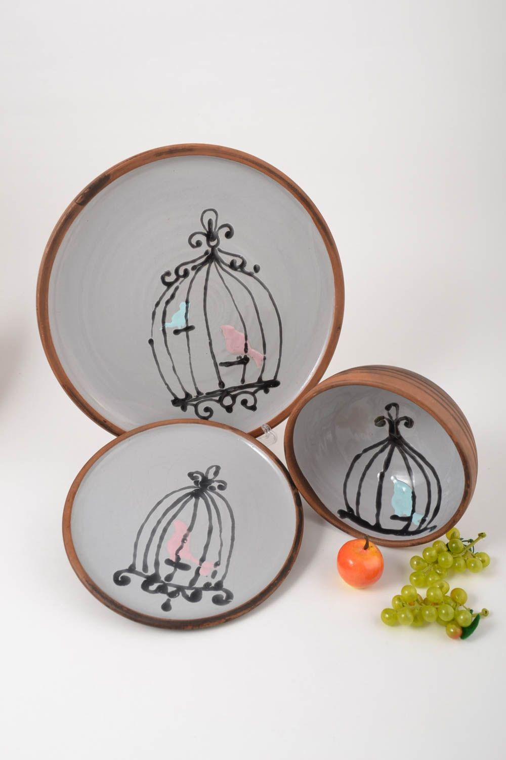 dinnerware sets Ceramic designer plates unusual handmade kitchenware 3 stylish lovely plates - MADEheart.com & MADEHEART u003e Ceramic designer plates unusual handmade kitchenware 3 ...