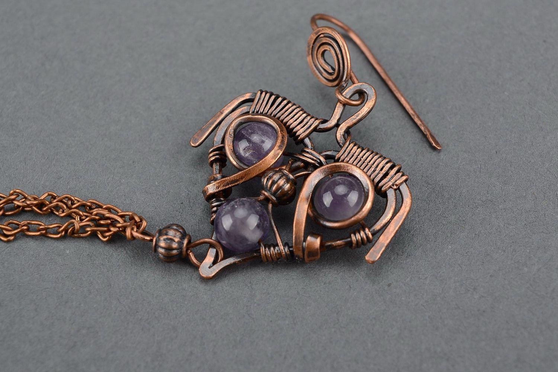 Boucles d'oreilles en cuivre avec améthyste photo 2