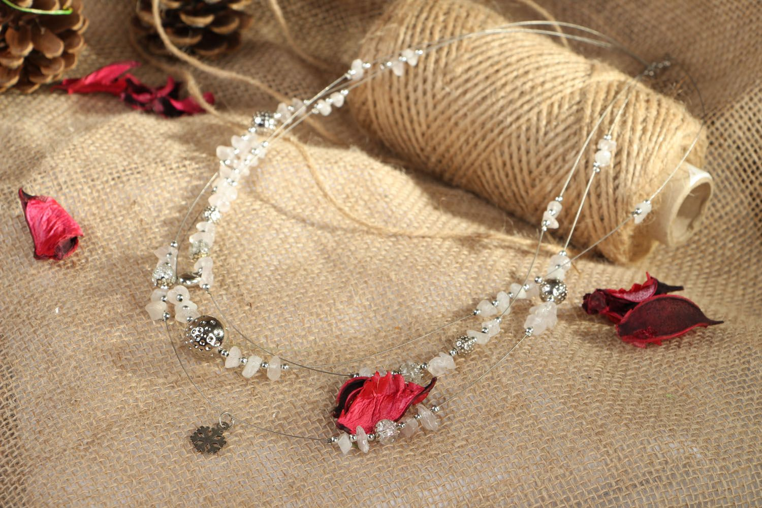 Beaded necklace with quarts New Year Mood photo 4