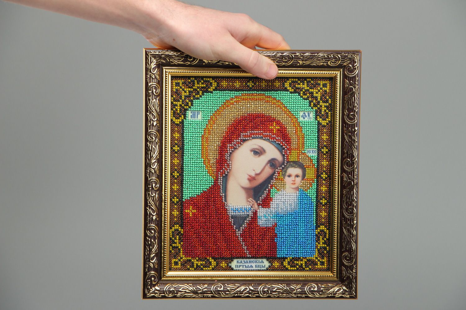 Handmade bead embroidered icon of the Kazan Mother of God present for believer photo 4