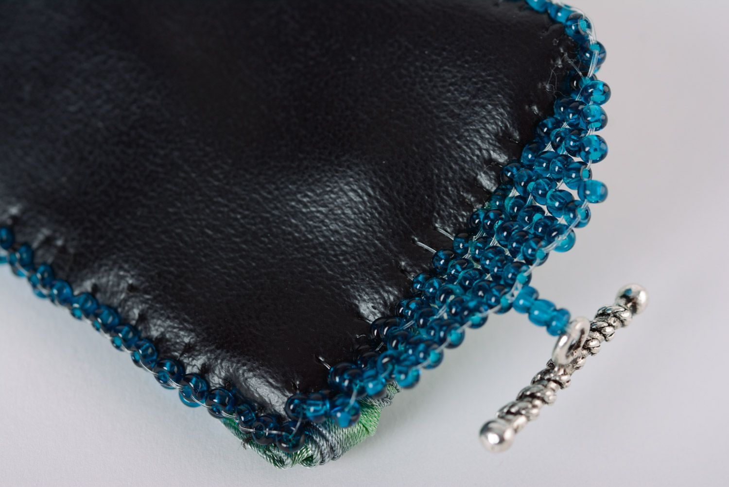 Handmade wide embroidered bead bracelet on artificial leather basis photo 5