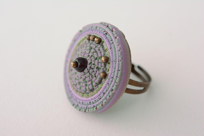 Кольцо из полимерной глины Фиолетовая дымка фото 1