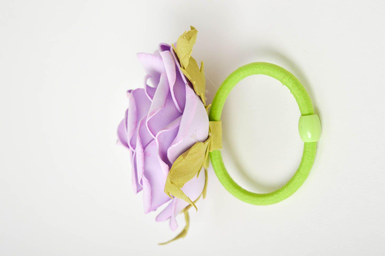 Blumen Haargummi handmade Schmuck Mädchen Haarschmuck lila Rose elegant schön foto 4