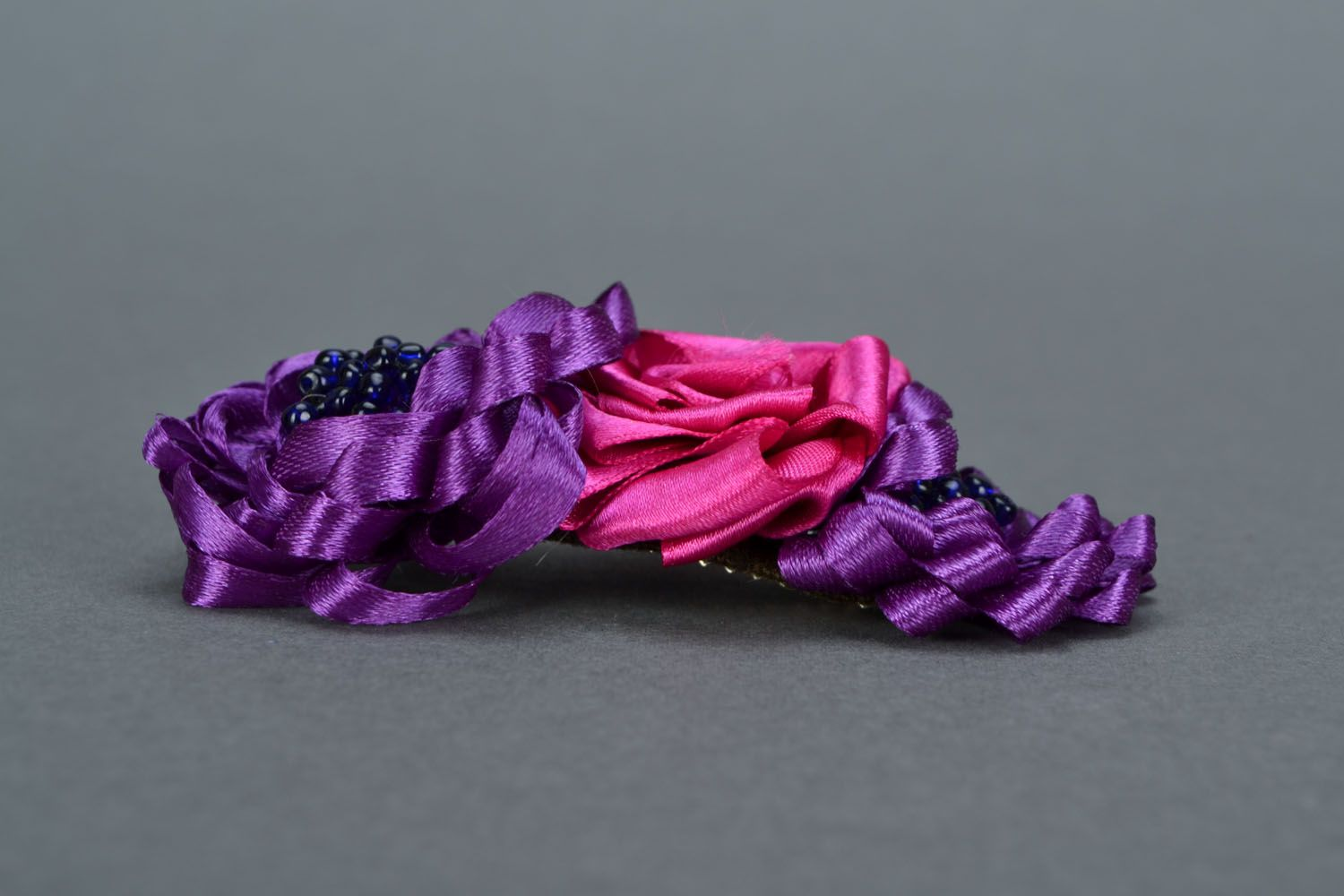 Bright flower hair clip Fuchsia photo 4