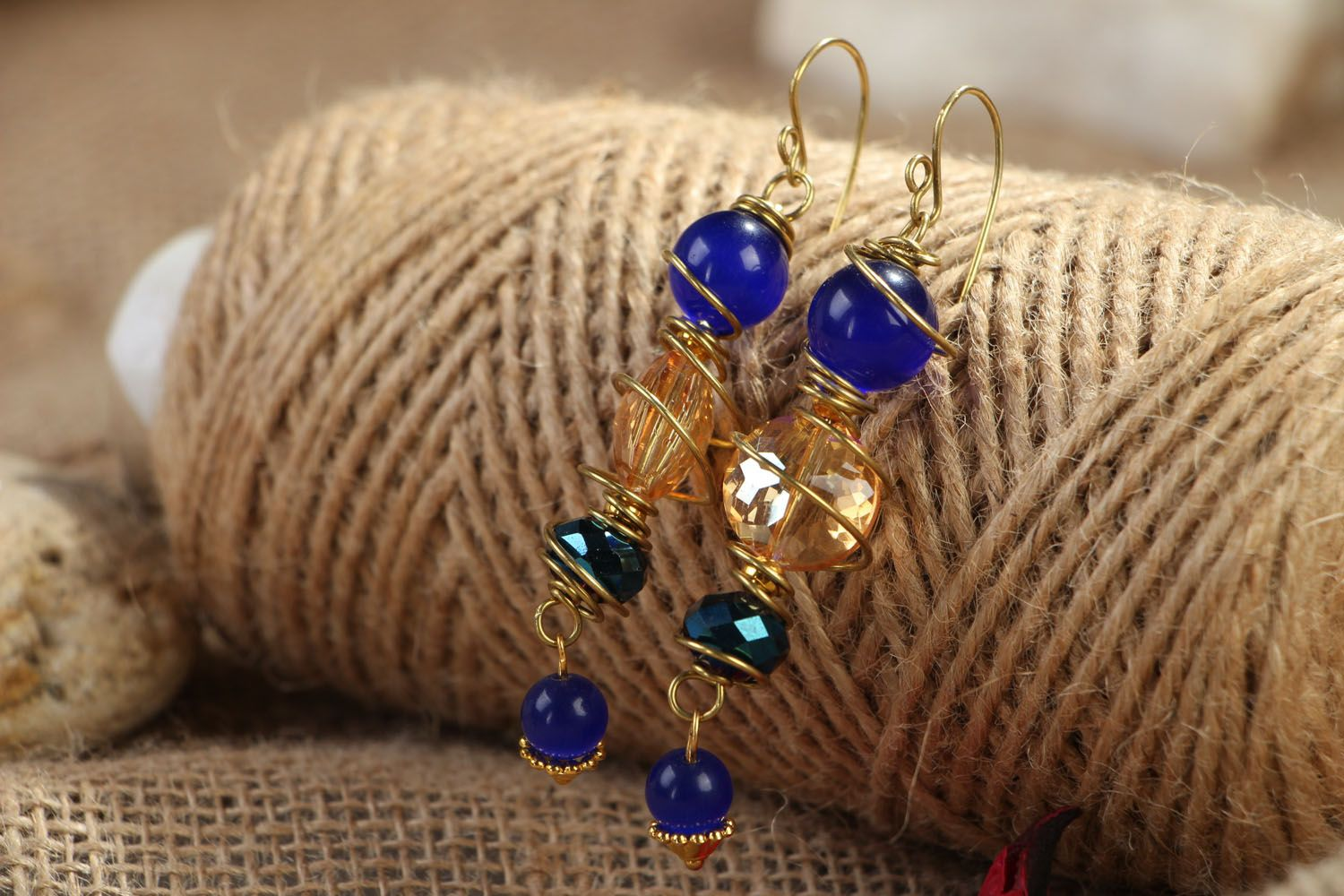 Metal earrings with natural stones photo 4