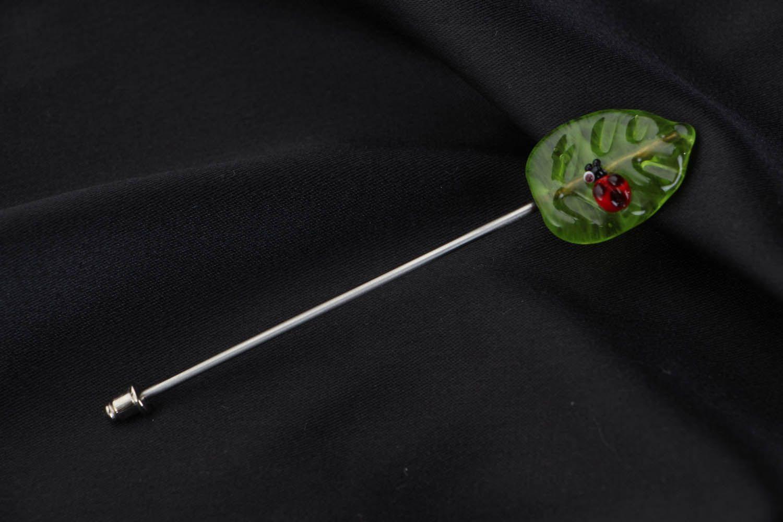 Glass brooch Leaf photo 1