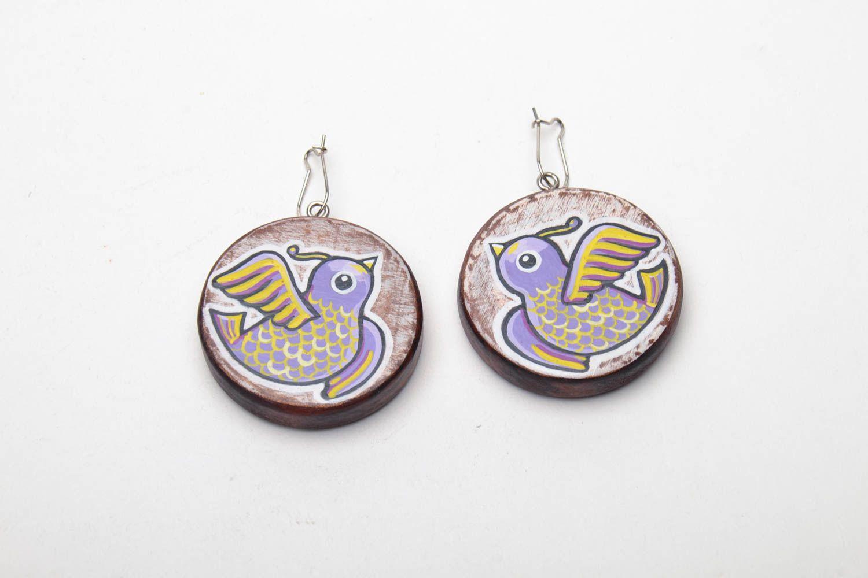 Homemade wooden earrings Birds photo 2