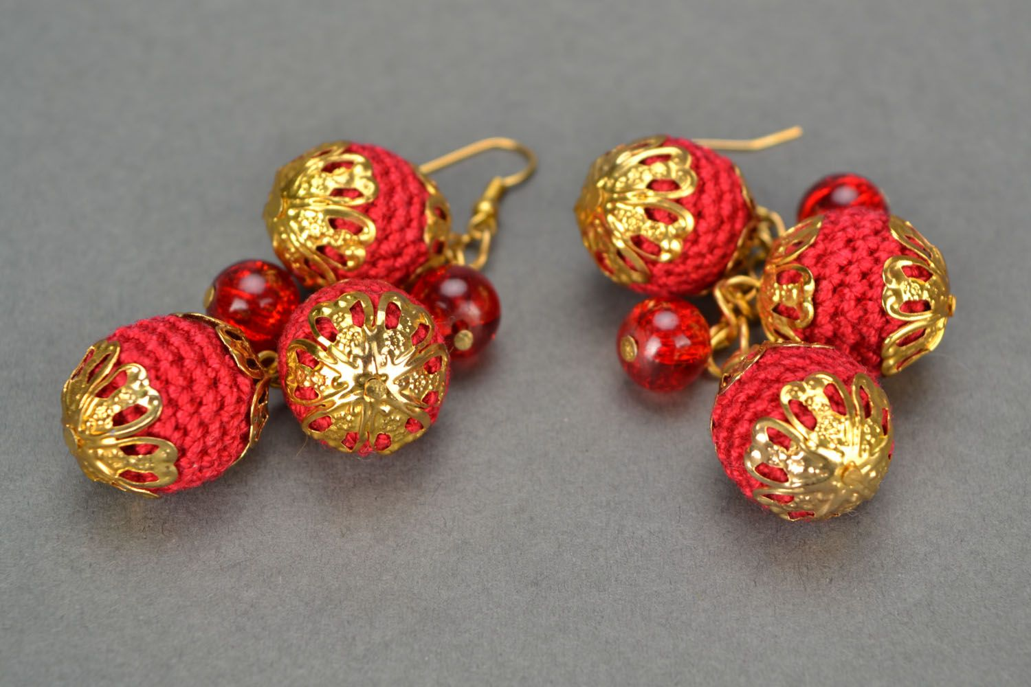 Crochet earrings with charms Cherry Glamor photo 5